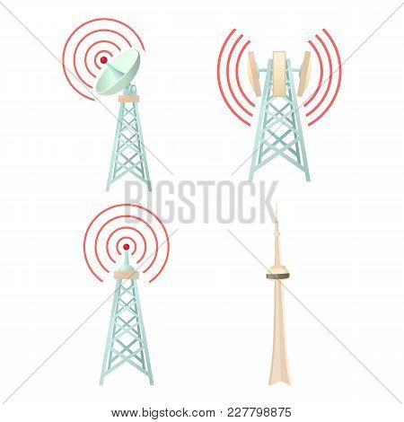 Tele Communication Tower Icon Set. Cartoon Set Of Tele Communication Tower Vector Icons For Web Desi