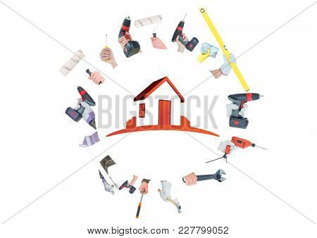 Digital composite of A lot of hands with tools doing a circle with red house on the middle.