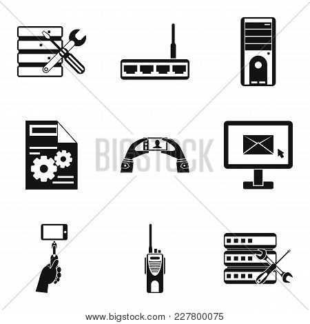 Pc Setting Icons Set. Simple Set Of 9 Pc Setting Vector Icons For Web Isolated On White Background