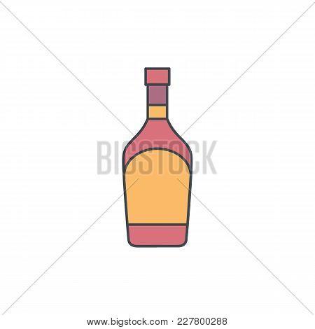 Alcohol Bottle Cartoon Icon. Vector Object In Colour Cartoon Stile Cognac Bottle Icon For Drinks Des