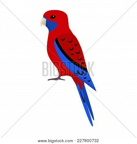 Crimson Rosella Parrot Icon In Flat Style. Australian Tropical Bird Symbol On White Background