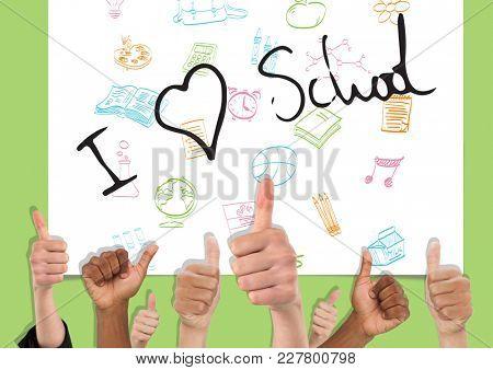 Digital composite of Thumbs up I love school