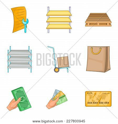 Building Repair Icons Set. Cartoon Set Of 9 Building Repair Vector Icons For Web Isolated On White B