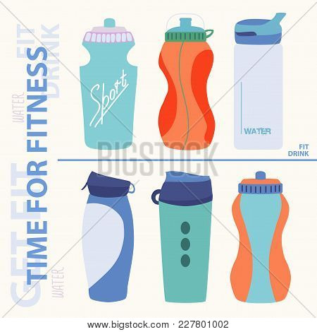 Sports Bottle For Water. Water With Lemon. Time For Wellness. Illustration On A Light Background