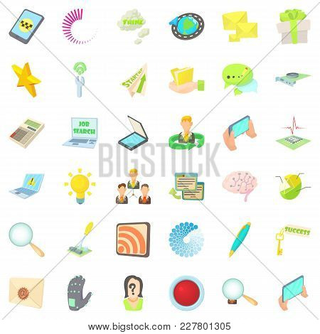 Announcer Icons Set. Cartoon Set Of 36 Announcer Vector Icons For Web Isolated On White Background