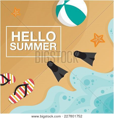 Hello Summer Beach Seashore Beach Ball Fins Background  Vector Image