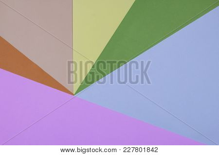 Flat Lay Of Pink,blue,green,yellow,cream And Orange Colorful Papers Background. Top View.