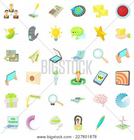 Publicist Icons Set. Cartoon Set Of 36 Publicist Vector Icons For Web Isolated On White Background