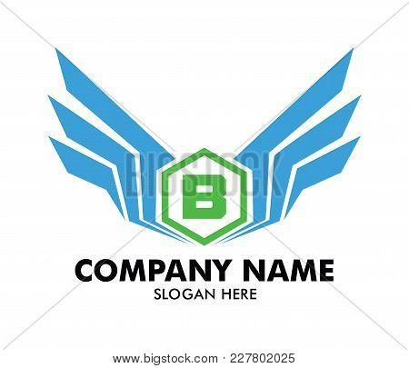 Letter B Emblem Badge Wing Vector Logo Design