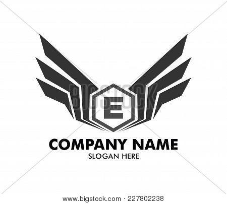 Letter E Emblem Badge Wing Vector Logo Design