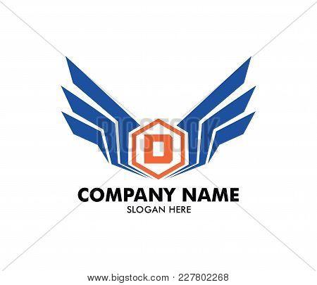 Letter D Emblem Badge Wing Vector Logo Design