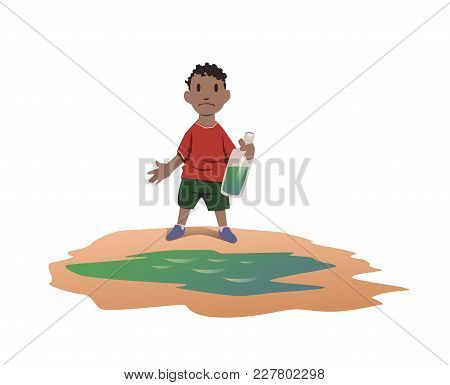 Water Scarcity Concept. African Boy Took Drinking Water From A Dirty Puddle. Bad Drinking Water Is T