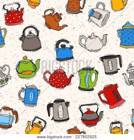Teapot And Kettle Vector Teakettle To Drink Tea On Teatime And Boiled Coffee Beverage In Electric Bo