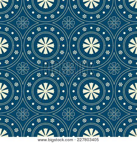 Seamless Background Southeast Asian Retro Aboriginal Traditional Art Textile Pattern Round Circle Do