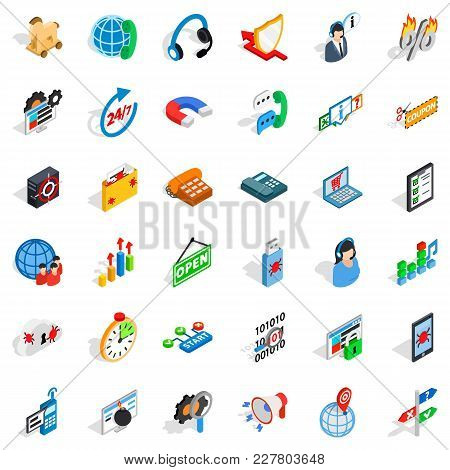 Power System Icons Set. Isometric Set Of 36 Power System Vector Icons For Web Isolated On White Back