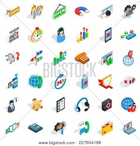 Power Grid Icons Set. Isometric Set Of 36 Power Grid Vector Icons For Web Isolated On White Backgrou