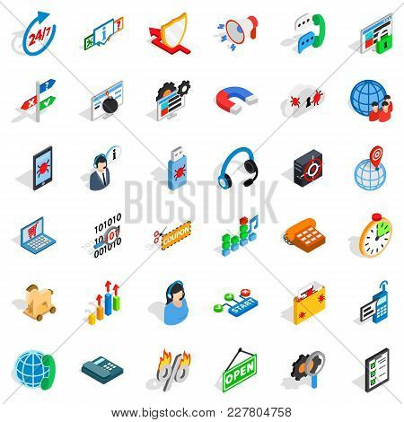 Lan Network Icons Set. Isometric Set Of 36 Lan Network Vector Icons For Web Isolated On White Backgr