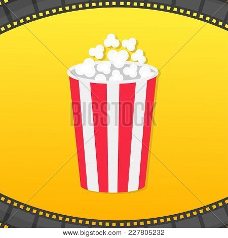 Popcorn Round Box. Film Strip Rounded Frame. Movie Cinema Icon. Pop Corn Popping. Yellow Gradient Ba