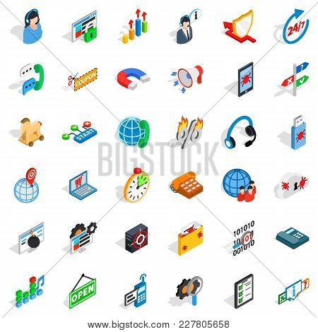 Smart Net Icons Set. Isometric Set Of 36 Smart Net Vector Icons For Web Isolated On White Background