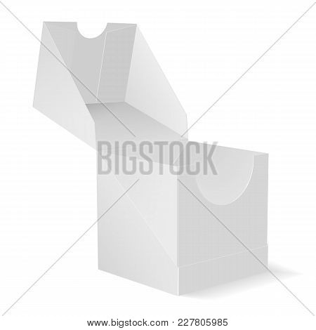 Eps10. Mock Up Of The Packing Box. A Box With An Open Lid In Perspective. 3d Illustration. Vector Im