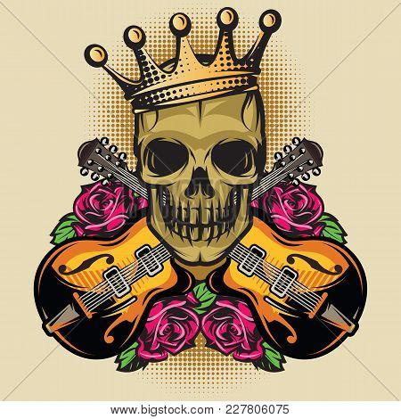 Vector Color Poster Template With Guitar, Skull And Rose.