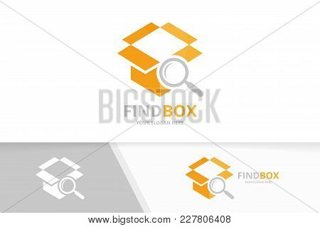Vector Box And Loupe Logo Combination. Package And Magnifying Symbol Or Icon. Unique Delivery And Se