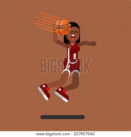 Bascketball Female Player Dooing Dank. Vector Illustration, Eps 10