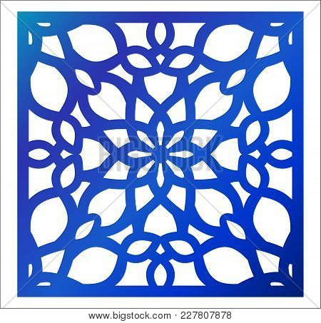 Laser Cutting Square Panel. Fretwork Floral Pattern With Mandala. Favor Or Gift Box Silhouette Ornam