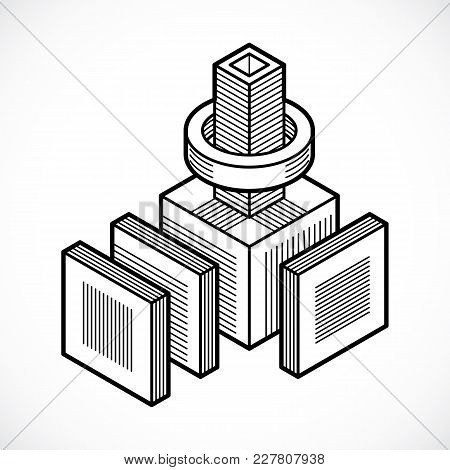 Engineering Abstract Shape, Vector Monochrome Polygonal Figure.