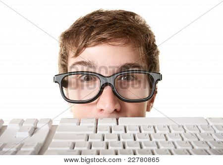 Teen Behind Computer Keyboard