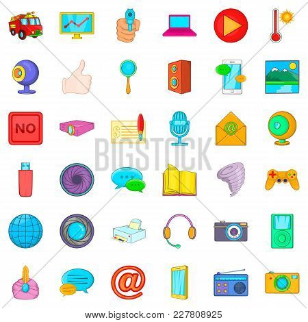 News Broadcast Icons Set. Cartoon Set Of 36 News Broadcast Vector Icons For Web Isolated On White Ba