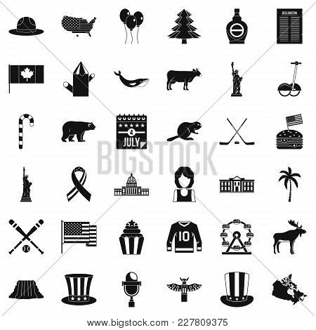 Trip America Icons Set. Simple Set Of 36 Trip America Vector Icons For Web Isolated On White Backgro