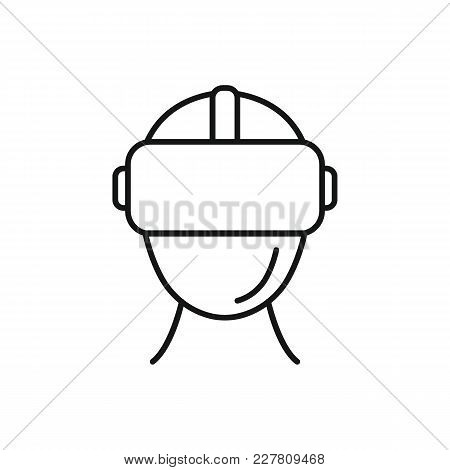 Virtual Reality Helmet Outline Icon. Headset Virtual Reality Vector Illustration On White Background