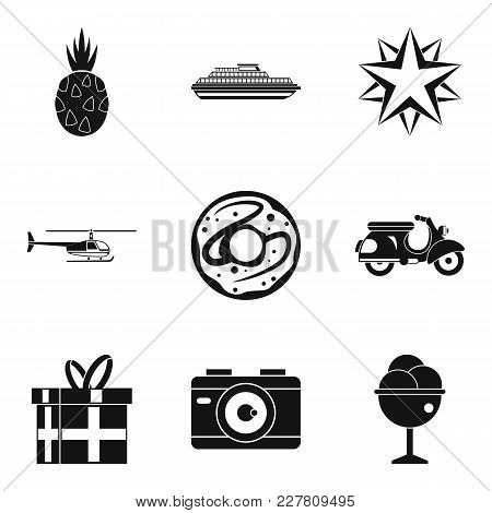 Honeymoon Trip Icons Set. Simple Set Of 9 Honeymoon Trip Vector Icons For Web Isolated On White Back
