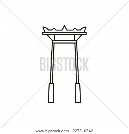Giant Swing Outline Icon. Thailand Giant Swingvector Illustration Isolated On White Background. Elem