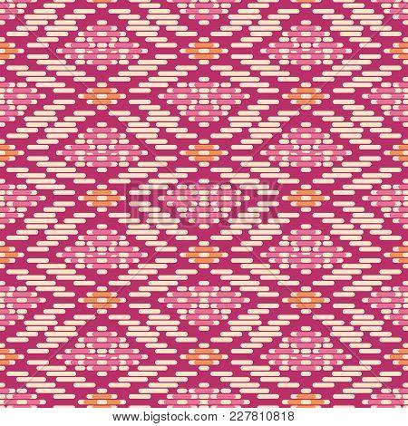 Seamless Background Southeast Asian Retro Aboriginal Traditional Art Textile Pattern Check Cross Geo
