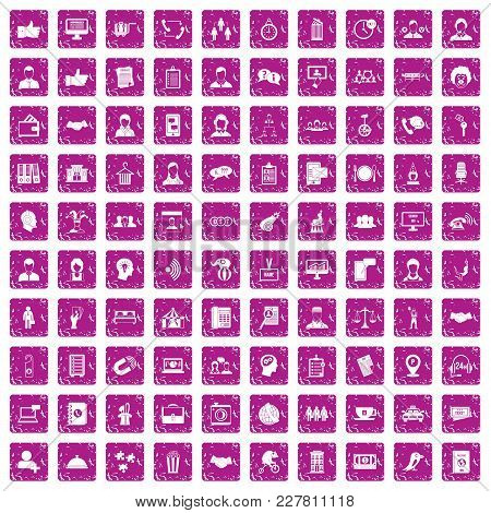100 Coherence Icons Set In Grunge Style Pink Color Isolated On White Background Vector Illustration