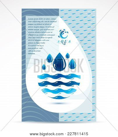 Water Filtration Theme Booklet Cover Design, Front Page For Use In Mineral Water Advertising. Sea Wa