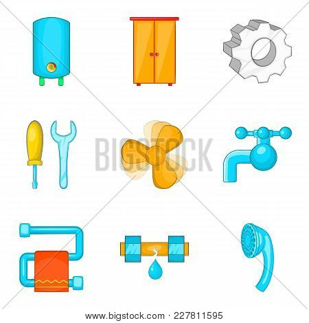 Electronic House Icons Set. Cartoon Set Of 9 Electronic House Vector Icons For Web Isolated On White
