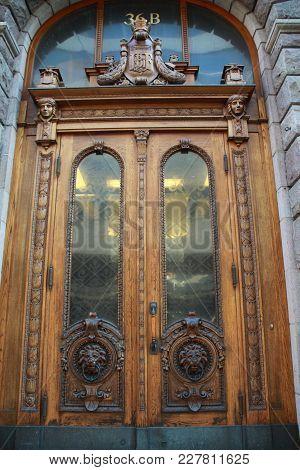 Old Reflected Finn Door, Street Of Helsinki