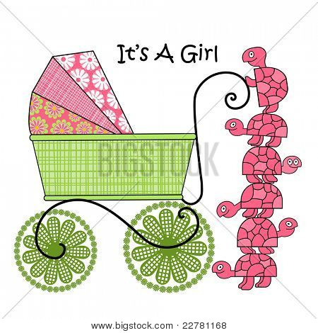 It is a girl - baby announcement  - cute pram and turtles taking a peek poster