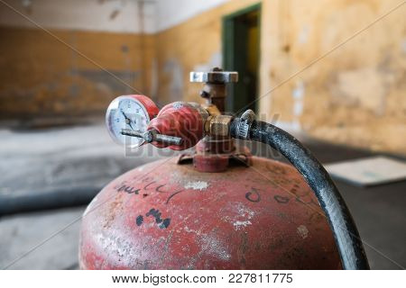 Gas Cylinder At The Construction Site At Close Range