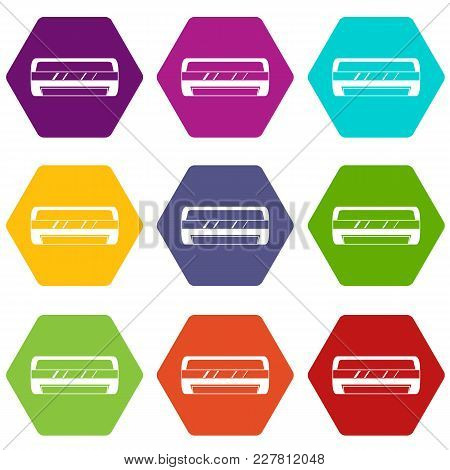 Conditioning Split System Icon Set Many Color Hexahedron Isolated On White Vector Illustration