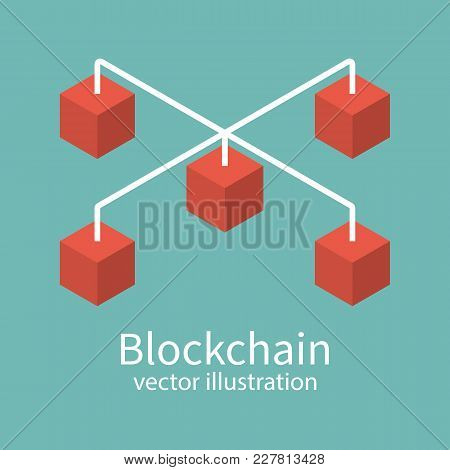 Blockchain Concept. Isometric Technology Cubic. Cryptography E-business. Vector Illustration Flat De