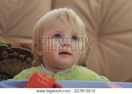 Portrait Of A Little Blue-eyed Blonde Girl, Close Up