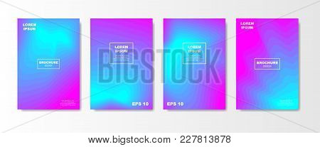 Minimal Liquid Cover Design Set. Future Poster Templates With Fluid Gradient Shape With Transparent