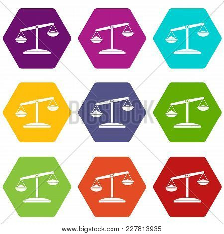 Retro Scales Icon Set Many Color Hexahedron Isolated On White Vector Illustration