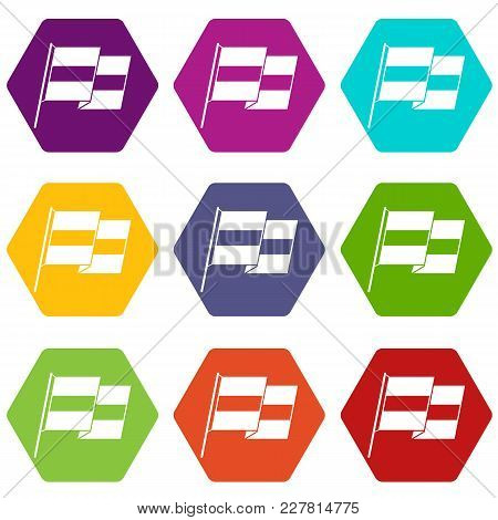 Egyptian Flag Icon Set Many Color Hexahedron Isolated On White Vector Illustration