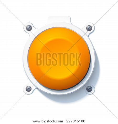 Abstract Web Element Concept With Orange Attached Blank Round Button On White Background Isolated Ve