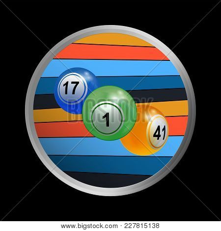 3d Illustration Of A Trio Of Bingo Lottery Balls In Metallic Border With Coloured Stripes On Black B